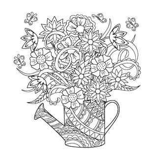 Hand drawn decorated image watering can with flower and herb.   Image for adult or children coloring  page, tatoo. Vector illustration - eps 10.