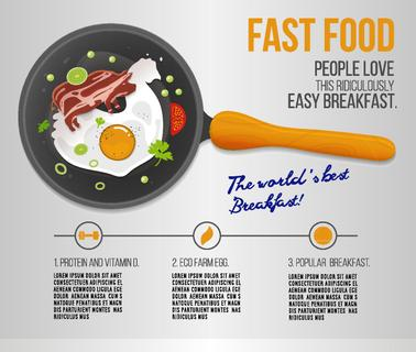 Vector chicken egg and fried bacon in a pan. Infographics about the worlds popular breakfast. Scrambled egg and bacon illustration in flat style. Can be used for menu, advertising and web design.