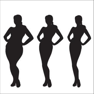 Female weight  silhouette,Three different girls, vector illustration.