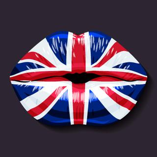 Foreign language school concept. Lips, open mouth, flag of United Kingdom