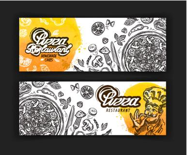 vector hand drawn pizza restaurant sketch and food, cafe, diner doodle