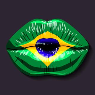 Foreign language school concept. Lips, open mouth, flag of Brazil
