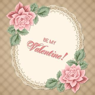 Valentines Day lacy frame decorated with roses on gingham background. Vector illustration in retro style