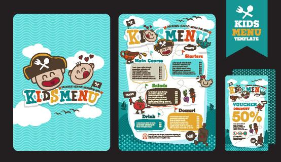 Cute colorful kids meal menu vector template with pirate cartoon