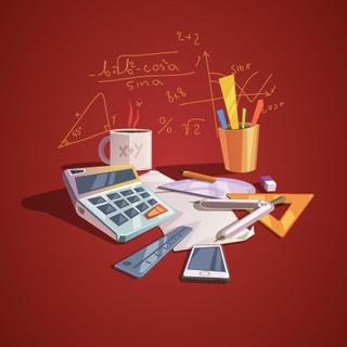 Math science concept with school lesson items in retro cartoon style vector illustration