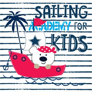 cute teddy bear sailor, sailing academy for kids vector illustration
