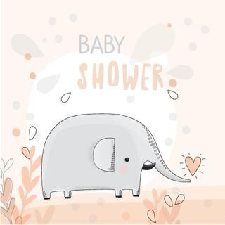 Baby shower illustration with cute elephant