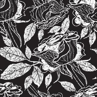 Vector seamless floral pattern, freehand drawing - rose flowers and leafs