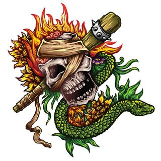 Vector Illustration Tattoo Design Of Skull With Snake and Flames