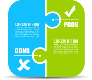 Pros and cons puzzle diagram illustration isolated on white background