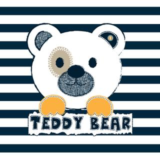 cute white teddy bear on striped background vector illustration
