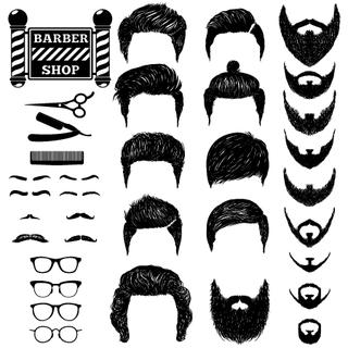A set of hand drawn of mens hairstyles, beards and mustaches, tools, barbera and the sign Barbershop. Gentlmen haircuts and shaves. Digital black vector illustration.