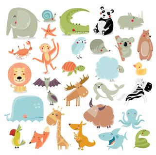 Big vector set of animals. The crocodile, elephant, bear, duck, panda, koala, lion, monkey, turtle, whale, shark, crab, fox, kangaroo, giraffe, bat, hedgehog, owl, snake, starfish, quail