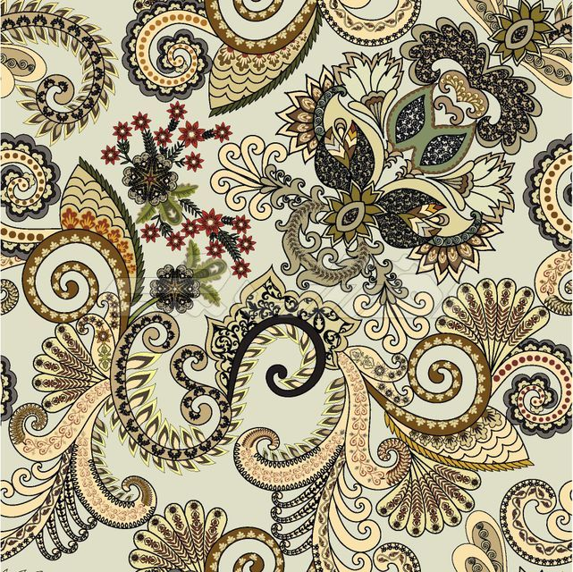 Seamless pattern with paisley and swirls with a small ornament in beige tones, decorated with orange flowers