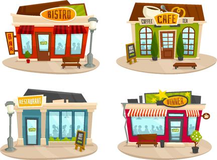 Restaurant buildings set vector illustration cartoon cafe bistro diner coffee house