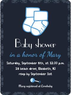 Baby shower invitation card template. Invitation, postcard, banner. Newborn boy arrival. Little socks. Party accessory. Vector illustration