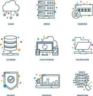 Cloud computing and network icons set, line style